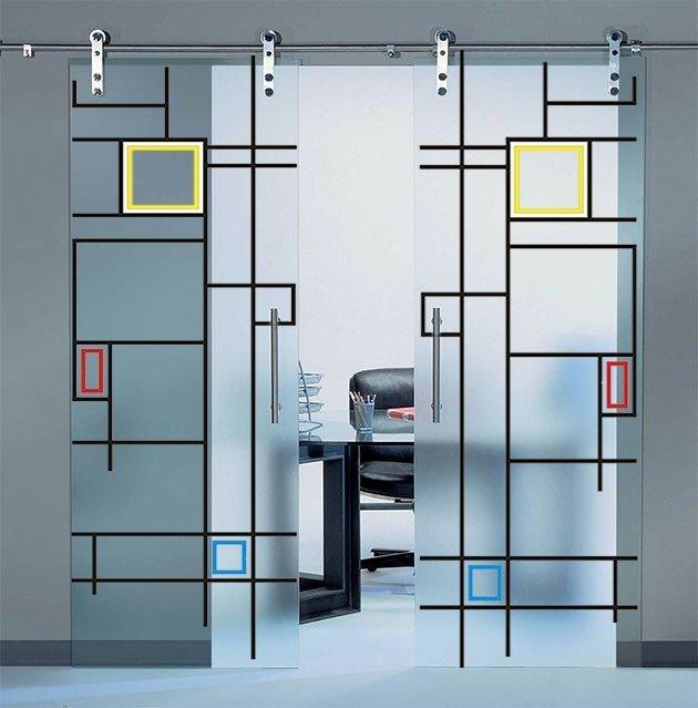 Porta in vetro scorrevole con stampa digitale guida in - Porta scorrevole vetro offerta ...