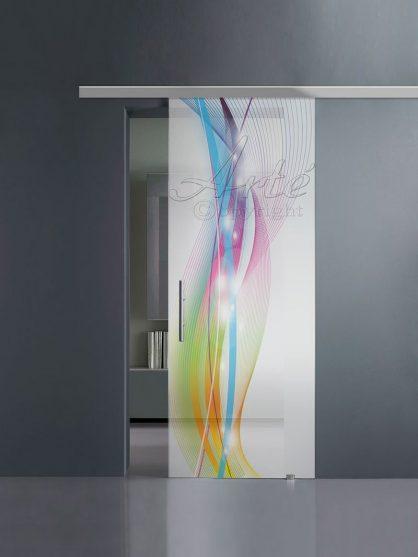Porte scorrevoli in vetro con stampa digitale e guida in alluminio