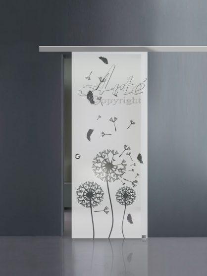 Porte scorrevoli in vetro sabbiato con guida in alluminio