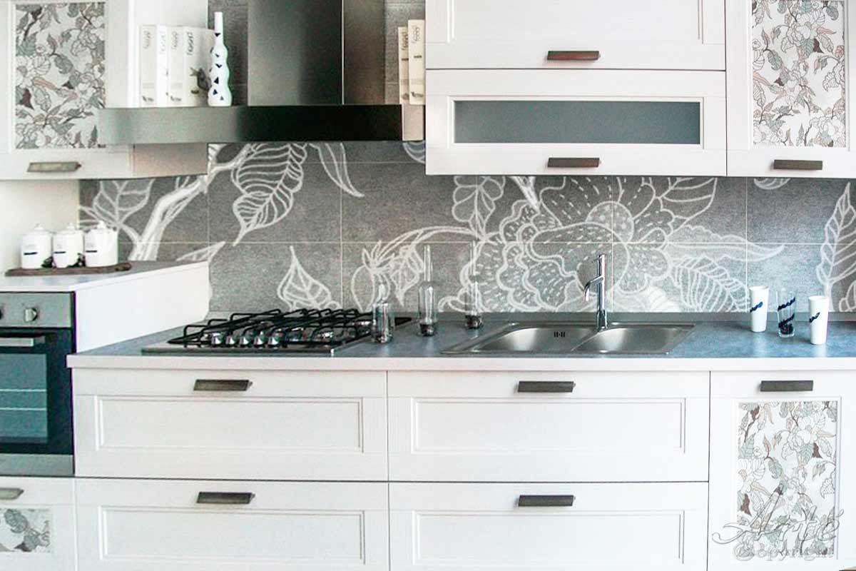 Piastrelle Cucina Con Fiori paraschizzi in vetro xxl per cucina fiori bianchi - frls19