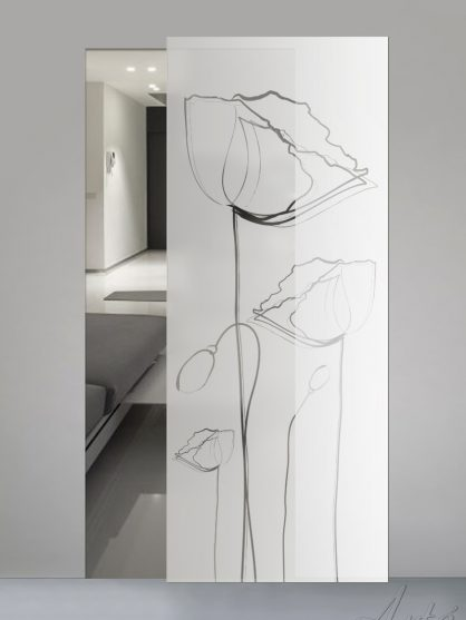 Porte scorrevoli in vetro sabbiato con decoro trasparente