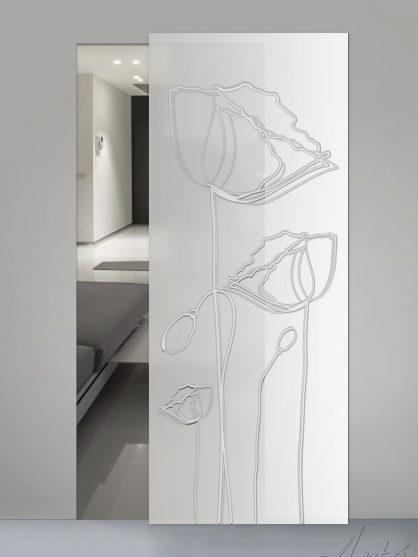 Porte scorrevoli in vetro satinato con decoro inciso