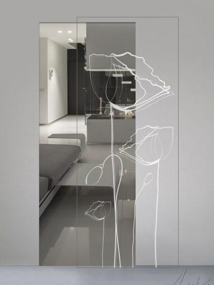 Porte scorrevoli in vetro trasparente con decoro sabbiato