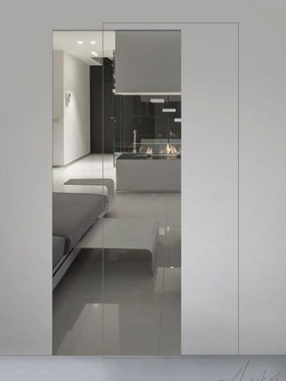 Porte scorrevoli in vetro trasparente