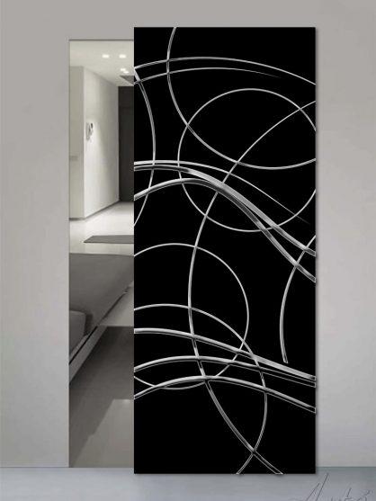 Porte in vetro a tinta unita con decoro luxury chromo