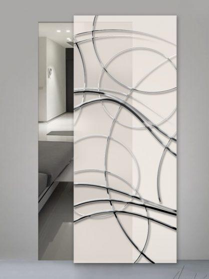 Porte in vetro satinato con decoro luxury chromo